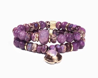 Beaded bracelet set - Beaded bracelet stack - Bracelet set boho - Beach bracelet set - Boho beaded bracelets - Lavender bracelets