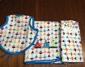 Flannel receiving blanket Set, sailboar row.