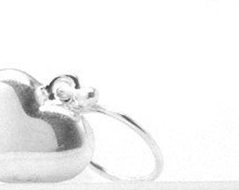 Sterling Silver Heart Earrings, Heart Jewelry, Puffy Heart Earrings, Sterling Silver Jewelry