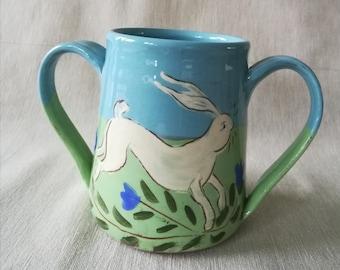 Two handled mug. Hare mug. Two handled tea mug. Pottery hare mug.
