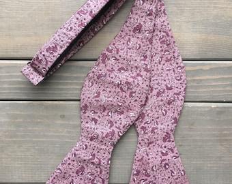 Purple Bow Tie - Bow Tie - Self Tie Bow Tie - Floral Bow Tie