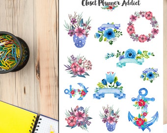 Watercolour Pink and Blue Anchor and Flowers Planner Stickers (S-104)