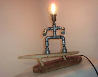 Table lamp IDUS TRIAL industry pipe lamp pipe designer lamp steampunk SILVER SURFER robot