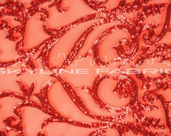 Red Stretch Sequin Lace Fabric By The Yard