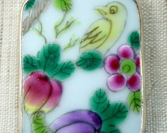 Bird and Flowers Hand Painted Porcelain Pottery Shard Pendant Charm for Necklace Ming Qing Shard