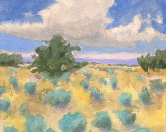 Landscape Painting Southwest Sky 8x8 Original American Landscape Tree Desert Canyon
