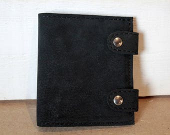 Black nubuck leather book wallet