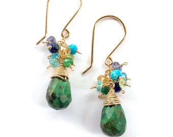 Green Turquoise Earrings. African Turquoise, Emerald, Peridot, Citrine, Blue Lapis Lazuli, Aquamarine, Topaz Gold Earrings. Gift Under 50