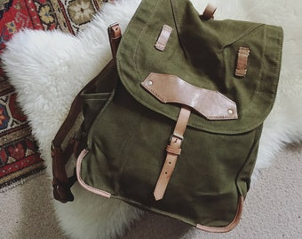NOS Army Backpack, Never Used Vintage Military Bag, Heavy Canvas Backpack, Big Mountain Bag, Fishing Backpack, Military Green Rucksack