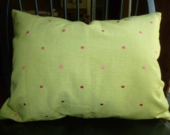 "15 1/2"" x 21"" Reversible Embroidered Fuschia Dots on Sage Green Pillow Cover with Invisible Zipper"