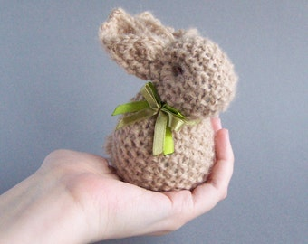 Rustic rabbit decor Stuffed bunny with ribbon Home decoration Spring beige brown rustic country indoor decor Waldorf animal - 1piece