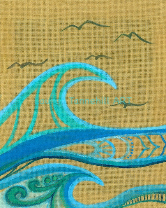 8x10 Giclee Print Surf Art Waves on Burlap, Bright Sun with Abstract Waves by Lauren Tannehill ART