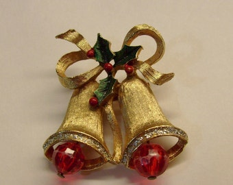 Vintage Christmas bells and holly brooch pin gold tone plastic beads enamel