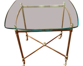 Hollywood Regency Style Brass & Glass Side End Table