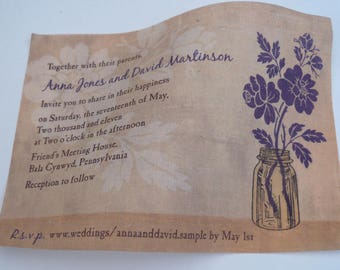 Rustic wedding invitations, linen fabric, mason jar with roses, vintage style, flowers in a jar, purple and beige {25}