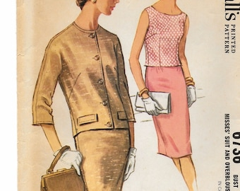 """A Scoop Neck Sleeveless Overblouse, 3/4 Sleeve Lined Jacket, and Slim Skirt Pattern for Women: Retro Size 18, Bust 38"""" • McCall's 6736"""