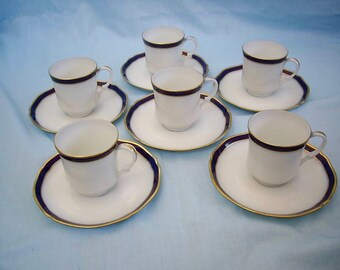 Set of 6 LIMOGES Demitasse Cups and Saucers