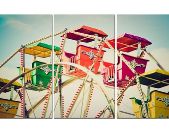 Colorful Vintage Ferris Wheel Canvas Triptych, 3 Panel Art, LARGE, Ready to Hang
