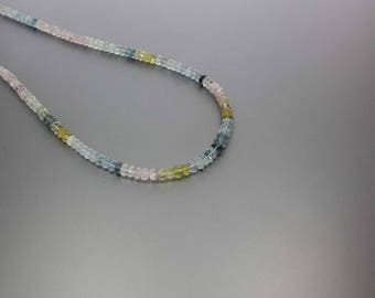Aquamarine Faceted Rondelle 5 to 6mm AA Necklace for Women