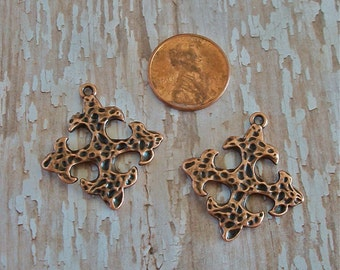 Small Pewter Hammered Square Crosses Antiqued Copper Perfect for Earrings