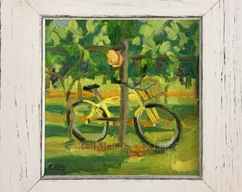 Bike on the Vineyard - ORIGINAL oil on linen, custom framed