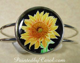 Sunflower Bracelet, Sunflower Cuff, Sunflower Jewelry, Sunflower Gifts, Gifts with Sunflower, Sunflower Wedding, Sunflower Bridal