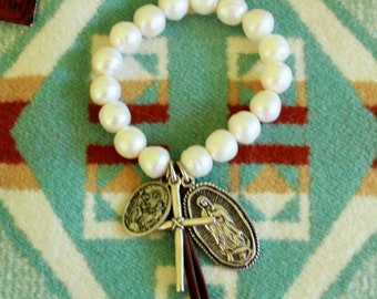 Handmade sterling silver Our Lady of Guadalupe , cross bracelet