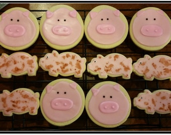 Pigs Cut Out Sugar Cookies - 1 Dozen