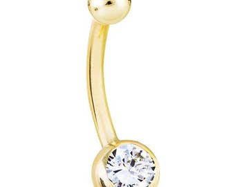 0.25ct SI1 Genuine Diamond 14K Yellow Gold Belly Button Ring