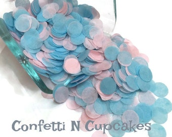 Circle confetti, baby girl shower, 1st birthday party, gender reveal decor, table decor, tissue paper, pink and blue confetti, baby boy, dot