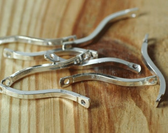 Silver plated curve link 20mm long, 10 pcs (item ID XM00121SP)