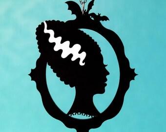 Bride of Frankenstein Silhouette Necklace - Laser Cut Acrylic (C.A.B. Fayre Original Design)