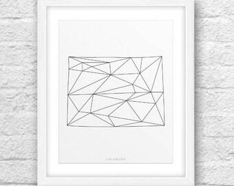 Colorado Map, Colorado Printable, Colorado Art, Colorado State, Colorado, Minimalist Art, Colorado Geometric Art,Instant Download, ModernArt
