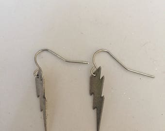 Silver Lightening Bolt Earrings