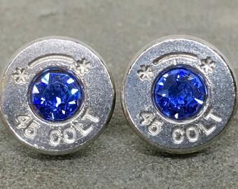Colt 45 Bullet Earrings Swarovski Sapphire