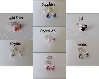 Swarovski Crystal Chaton 4mm Stud Earrings- New Colours! Jet, Siam, Clear, Aurora Borealis, Rose Pink, Sapphire and Peridot