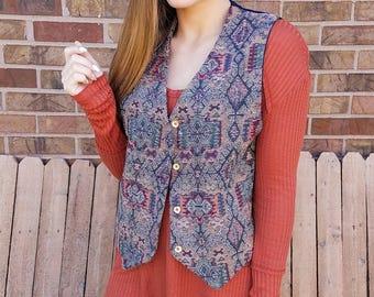 VTG Boho embroidered front vest