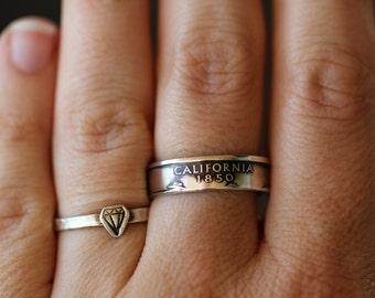 Handmade Silver California State Coin Ring, Custom Sizing 4-13