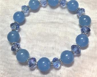 Blue Aventurine & Glass Sapphire Stretch Bracelet #489