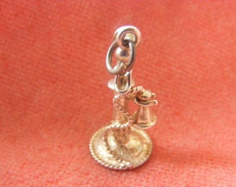 H) Vintage Sterling Silver Charm Old Fashioned Telephone