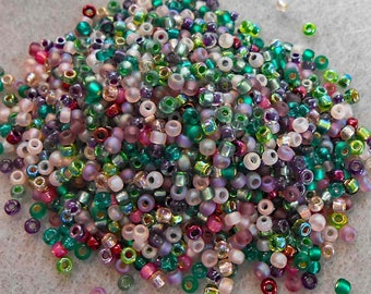 8/0 Miyuki Seed Bead Mix, 25 grams, Greens/Rose/Teal/Amethyst colors (0017)