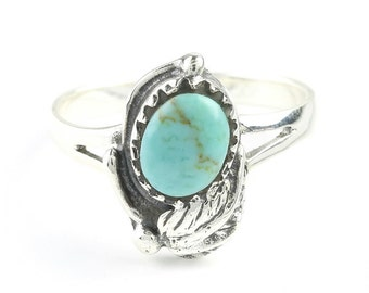 Into The Wild Turquoise Ring, Sterling Silver Turquoise ring, 925, Boho, Gypsy, Festival Jewelry, Gemstone, Southwestern Design, Feather