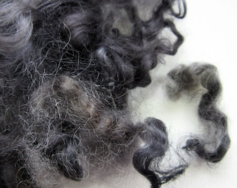 Black Curly Locks - Sheep Curls - Needle Felting - Dolls Hair - Felting Supplies 1/2 oz
