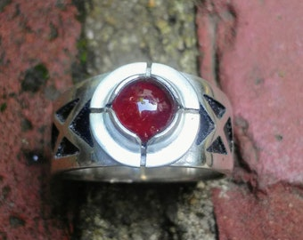 Hand engraved gothic ring with garnet