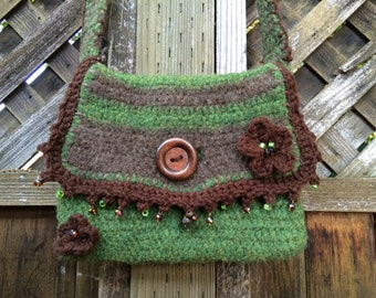 Boho Beaded Petite Felted Crochet Messenger Bag