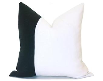 Linen Colorblock Pillow - Black and White Pillow Cover - Black Pillow - White Pillow - Linen Pillow - Decorative Pillow
