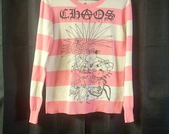 Seditionaries striped long sleeve punk sweater Chaos with Mickey and Kitty 1 of a kind size Small