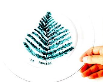 Plate -- Handpainted clear plate platter The FERN, handmade by SophieLDesign