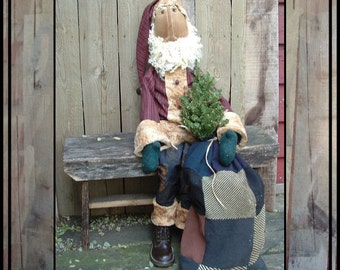 Primitive folk art instant download pattern soft sculpted Santa rag doll HAFAIR ofg faap Lucys Lazy Dayz 369
