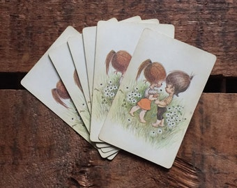 Vintage Little Children in a Field Playing Cards - Set of 6